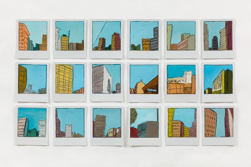 oil paintings on polaroids by Sarah Kudirka