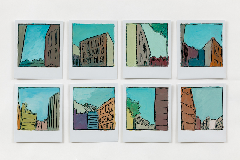 City Skies, 8 paintings on polaroids by artist Sarah Kudirka