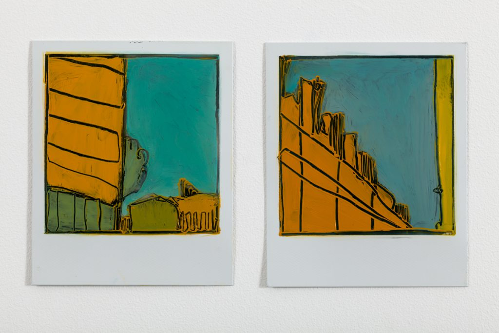 2 City Skies unframed paint on polaroid images by Sarah Kudirka